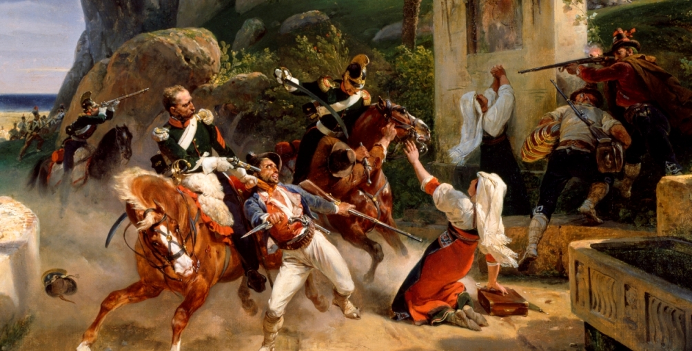 Papal Cavalry attacked by Italian Bandits 1819 using French Cavalry Pistol