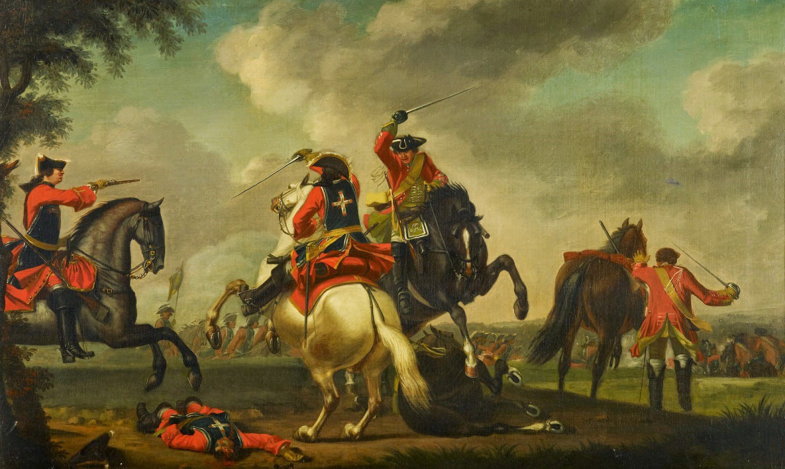 British and French cavalry in combat at the Battle of Warburg on 31st July 1760 French Pistol