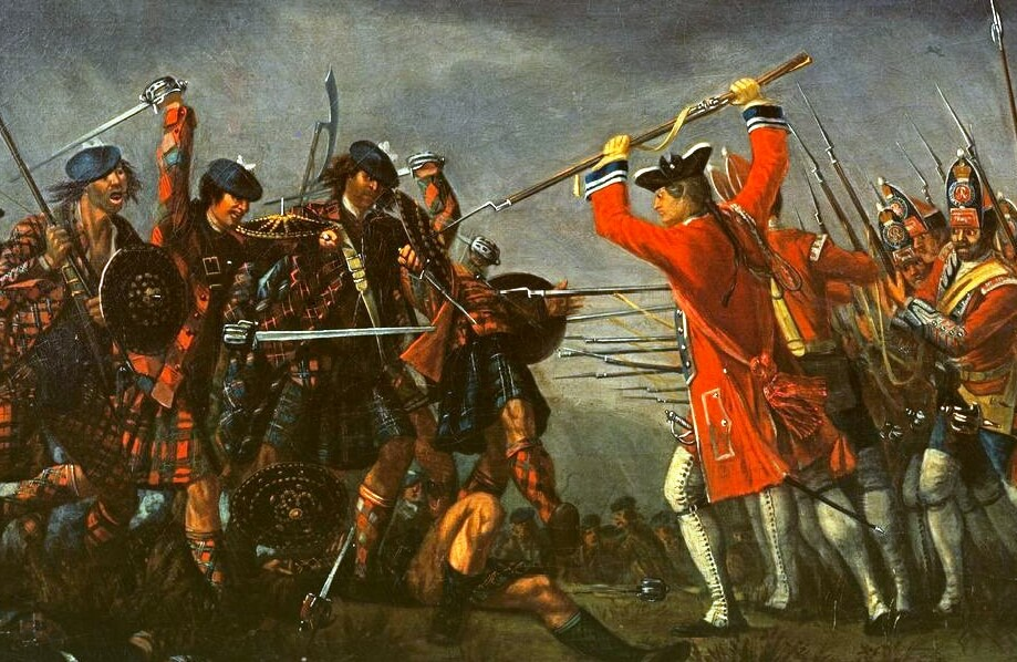 The Battle of Culloden broadswords in Morier painting