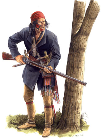 mohawk with Northwest Trade gun in the War of 1812