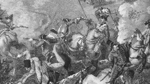 Prussian and Austrian Cavalry engaged at the Battle of Leuthen, 1757.