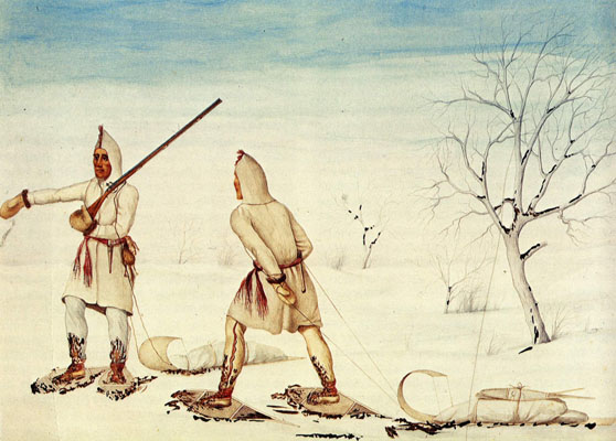 Prairie Natives in the Winter using the northwest trade gun
