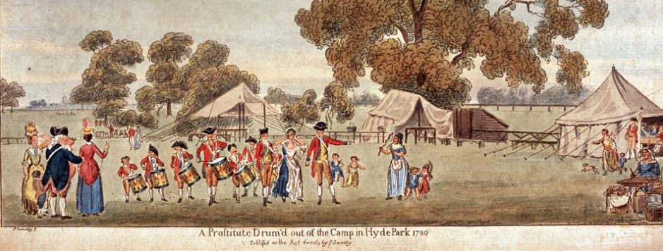 Prostitute being drummed out of a British camp in 1780