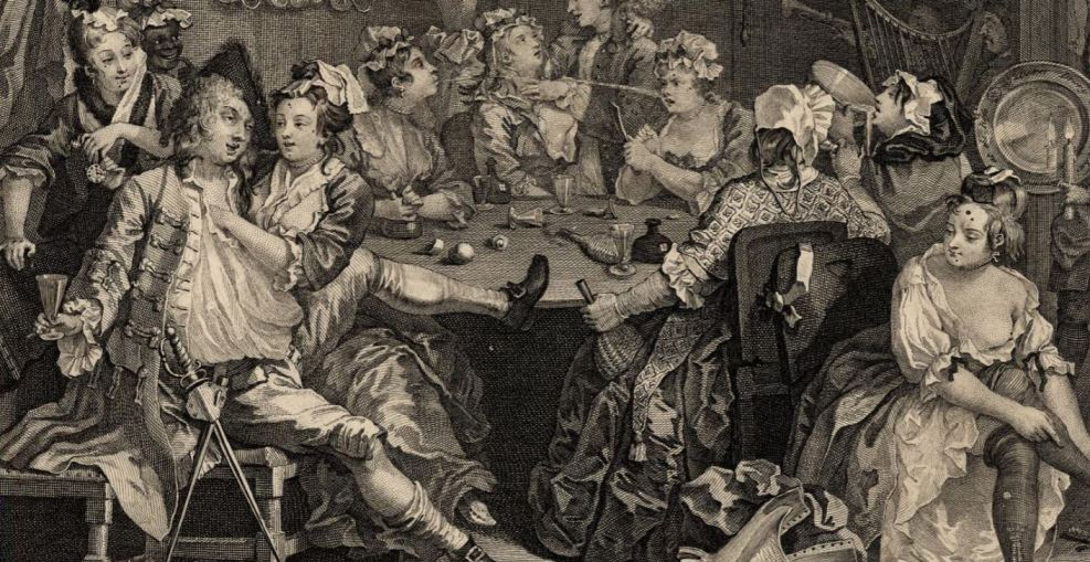 A Rake's Progress by William Hogarth (1735) illustrating higher class prostitutes at the time